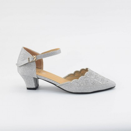 Emma Pointed Heels in Silver
