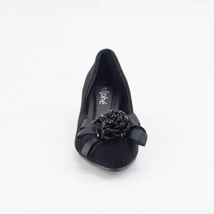 Charlotte Bow Pointed Heels in Black