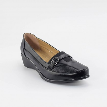 Camille Buckle Loafers in Black