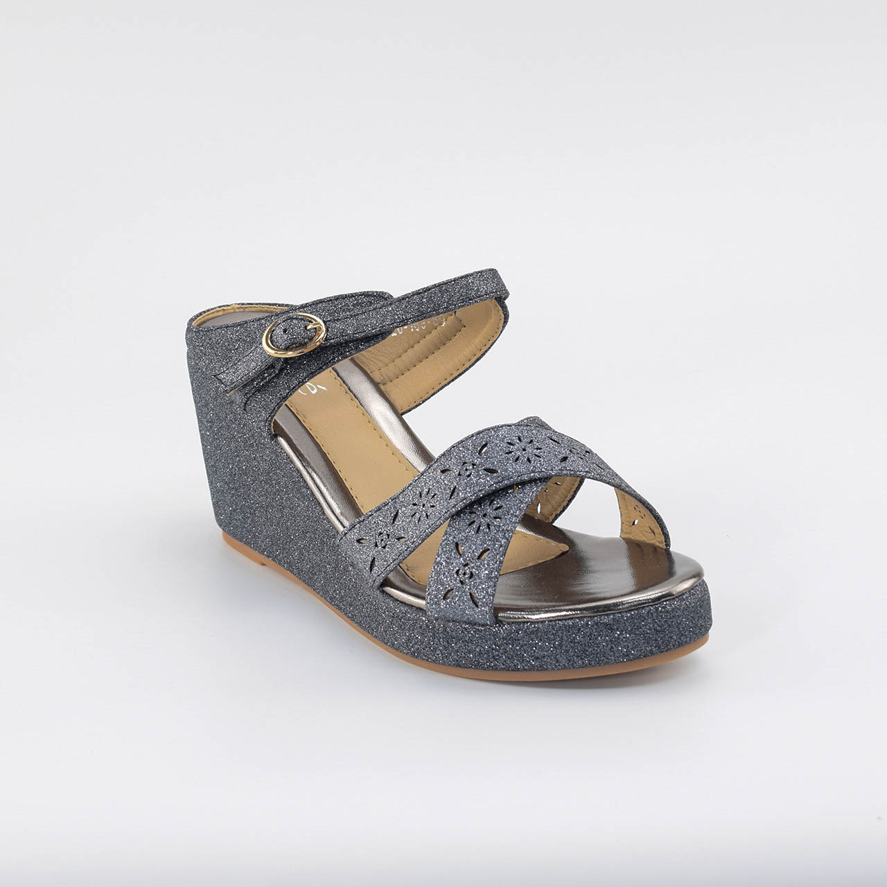 Sally Cross Wedges in Grey