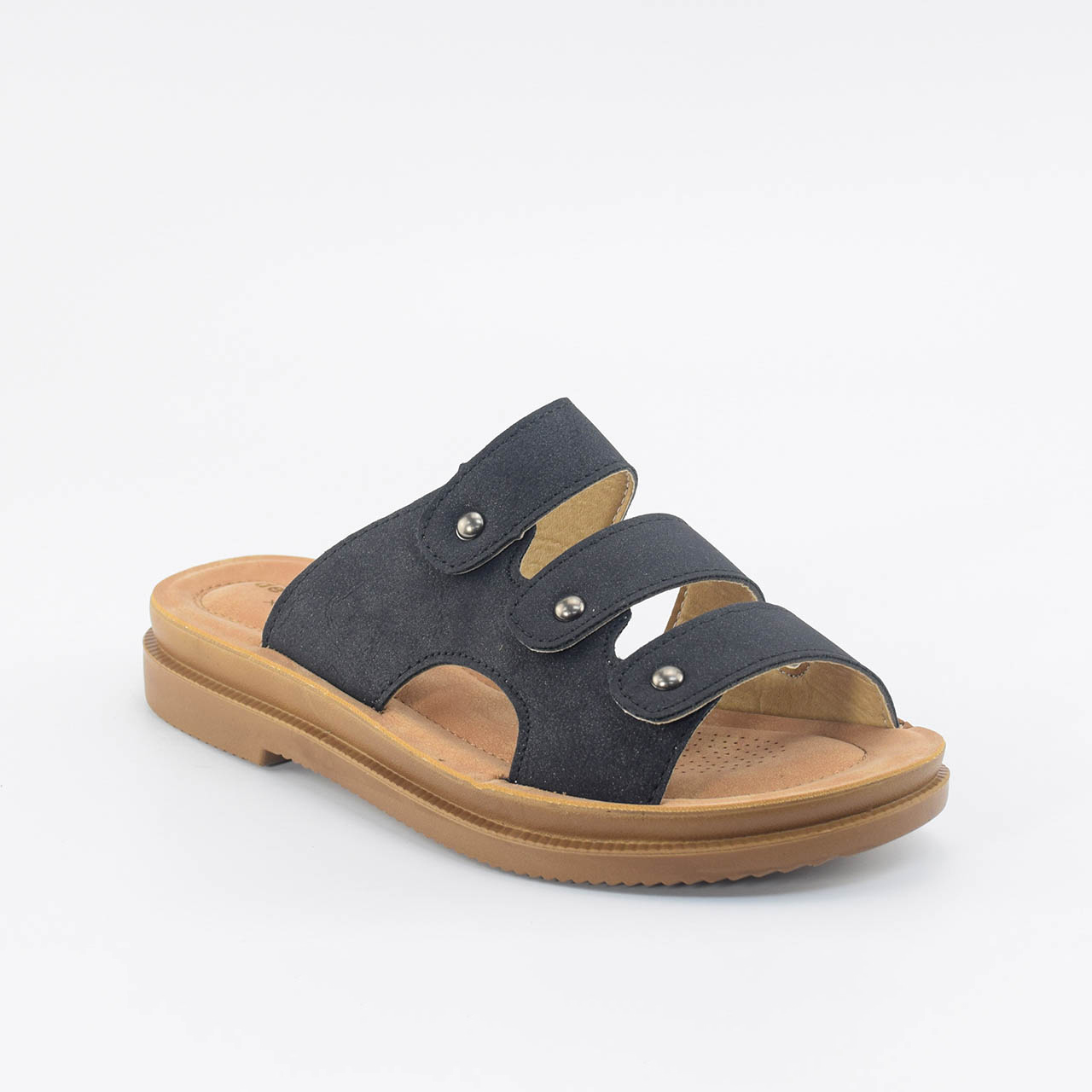 Leah Strappy Sliders in Black